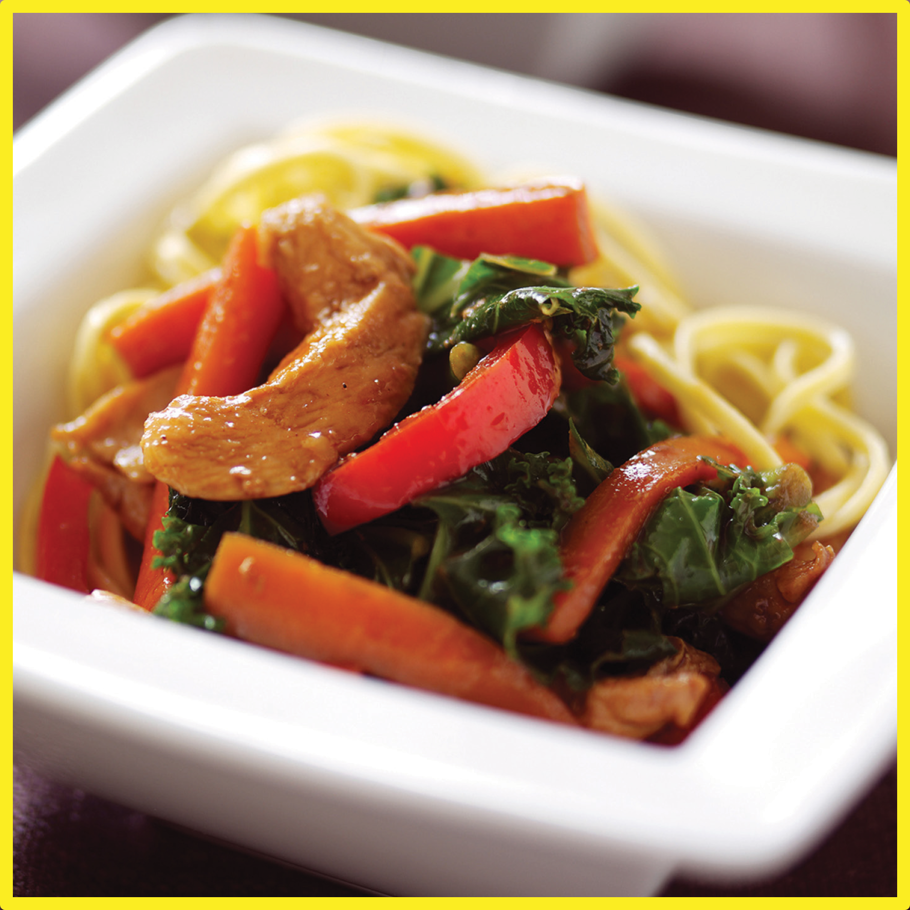 chicken, kale and ginger stir fry