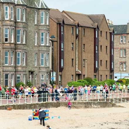 Edinburgh buildings and beach front